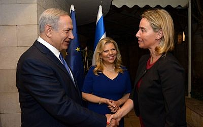 Prime Minister Benjamin Netanyahu meets  EU High Representative for Foreign Affairs and Security Policy Federica Mogherini, September 29, 2016 (Haim Zach, GPO)