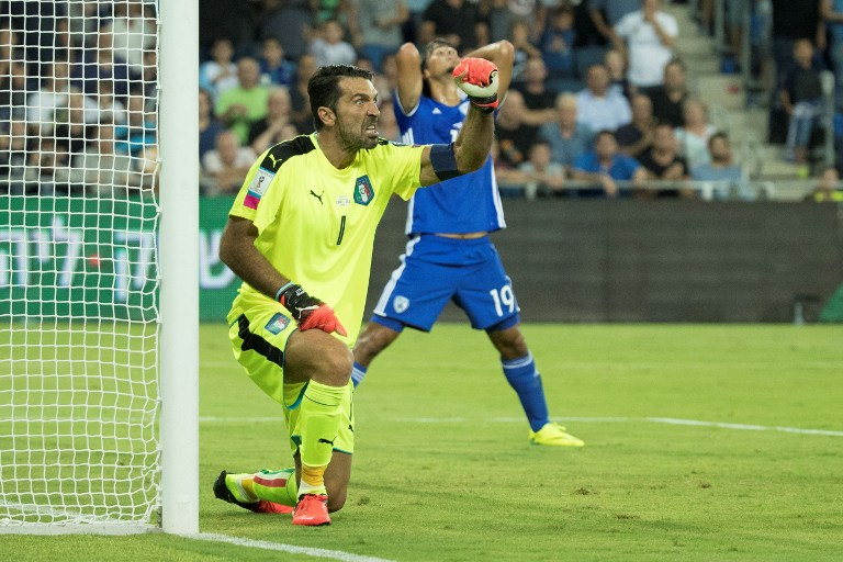 Italian goalkeeper Gianluigi Buffon reacts after making a save during the World Cup 2018 qualifier football match Israel vs Italy at Sammy Ofer Stadium in Haifa, on September 5, 2016. (AFP PHOTO / JACK GUEZ)