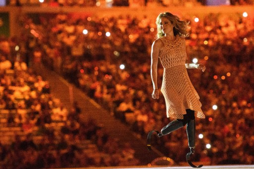 American Paralympic snowboarder Amy Purdy in her Danit Peleg-designed 3-D dress at the September 7 opening ceremony of the 2016 Paralympics (Courtesy YASUYOSHI CHIBA/AFP Photo)