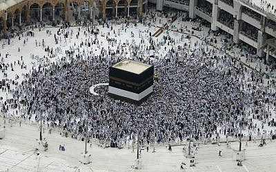 Muslim pilgrims from all around the world circle around the Kaaba at the Grand Mosque in the Saudi city of Mecca on on September 9, 2016, a day before the start of the annual hajj pilgrimage.  (AFP/Ahmad Gharabli)