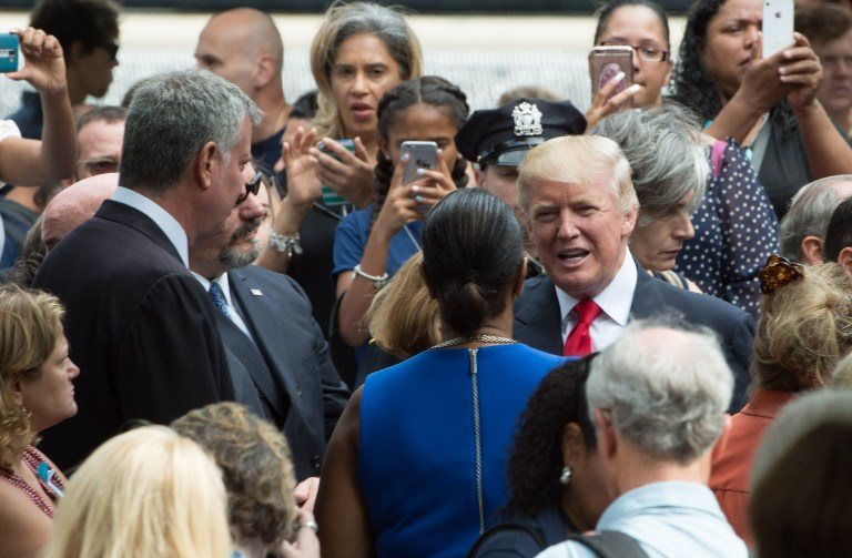 Republican presidential nominee Donald Trump during the 15th Anniversary of September 11 at the 9/11 Memorial and Museum, Sunday, September 11, 2016 in New York. (AFP PHOTO / Bryan R. Smith)