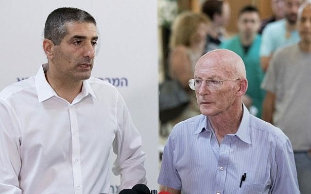 Rafi Walden, right, and Yitzhak Kreiss, director of the Sheba Medical Center, talk to journalists on September 14, 2016. (AFP/JACK GUEZ)