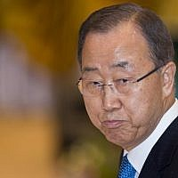 This file photo taken on September 7, 2016 shows UN secretary general Ban Ki-moon at ASEAN-UN Summit in Vientiane. (AFP / YE AUNG THU)