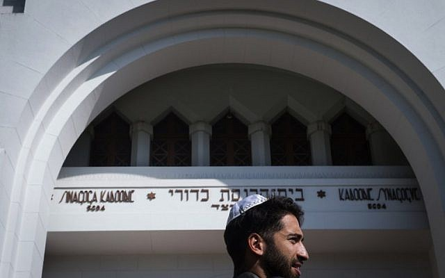 Jonathan Rideau, member of the Jewish community of Porto arrives at The Kadoorie Mekor Haim Synagogue in Porto, on September 2, 2016. (AFP PHOTO / MIGUEL RIOPA)