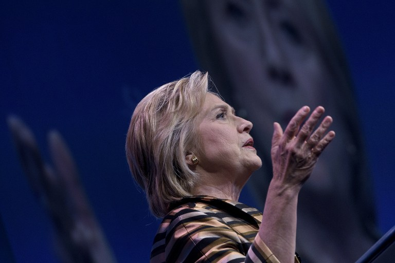 Democratic presidential nominee Hillary Clinton speaks during the Congressional Hispanic Caucus Gala September 15, 2016 in Washington.(AFP PHOTO / Brendan SMIALOWSKI)