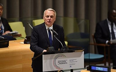 Jean-Marc Ayrault, French Minister of Foreign Affairs, speaks at the United Nations in New York September 19, 2016. (AFP/Timothy A. Clary)