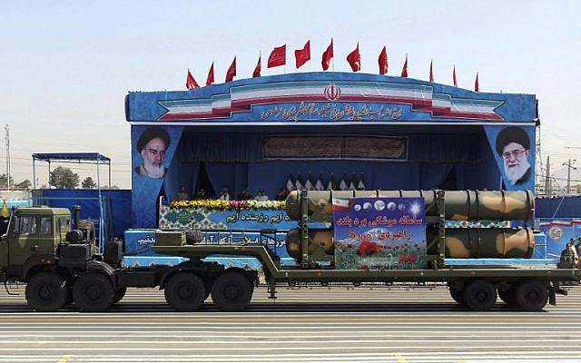 Illustrative: An Iranian military truck carries parts of the S300 missile system during the annual military parade marking the anniversary of the start of Iran's 1980-1988 war with Iraq, on September 21, 2016, in the capital Tehran. (AFP/Chavosh Homavandi)