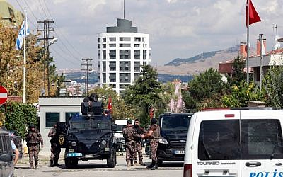 Illustrative photo: police special forces stand guard in front of the Israeli Embassy in Ankara, Turkey after a mentally disturbed Turkish man wielding a knife tried to storm the building, September 21, 2016. (AFP Photo/Adem Altan)