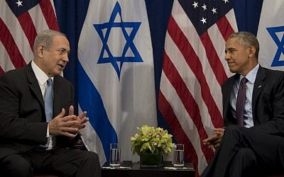 Then US president Barack Obama, right, talks with Prime Minister Benjamin Netanyahu during a bilateral meeting in New York, September 21, 2016. (AFP/Jim Watson)