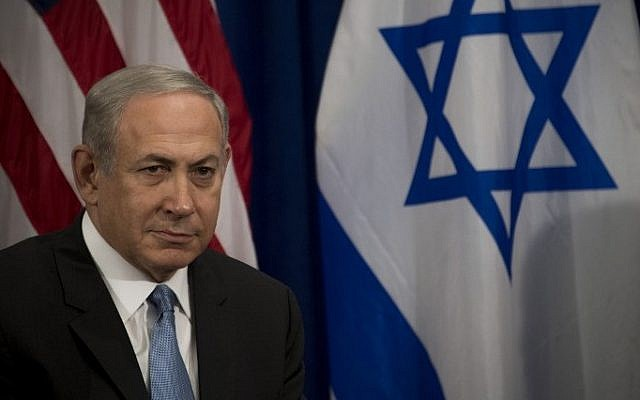 Prime Minister Benjamin Netanyahu looks on during a bilateral meeting with US President Barack Obama (not seen) in New York, September 21, 2016.  (AFP/Jim Watson)