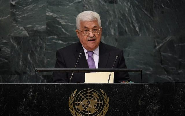 Palestinian Authority President Mahmoud Abbas addresses the 71st session of the United Nations General Assembly at the UN headquarters in New York on September 22, 2016 (AFP Photo/Timothy A. Clary)