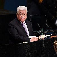 Palestinian Authority President Mahmoud Abbas addresses the 71st session of the United Nations General Assembly at the UN headquarters in New York on September 22, 2016 (AFP PHOTO / TIMOTHY A. CLARY)