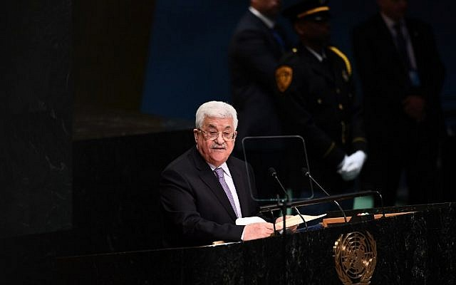 Palestinian Authority President Mahmoud Abbas addresses the 71st session of the United Nations General Assembly at UN headquarters in New York on September 22, 2016. (AFP PHOTO / Jewel SAMAD)