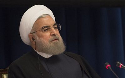 Iran's President Hassan Rouhani speaks at a news conference September 22, 2016 in New York. (AFP/DON EMMERT)