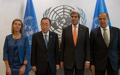From left: EU High Representative Federica Mogherini, UN Secretary-General Ban Ki-moon, US Secretary of State John Kerry and Russian Foreign Minister Sergey Lavrov pose for photographers before a meeting of the Middle East Quartet at UN headquarters in New York on Sept. 23, 2016. (AFP PHOTO/Bryan R. Smith)