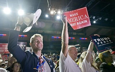 Supporters cheer during a rally for Republican presidential nominee Donald Trump at the Berglund Center in Roanoke, Virginia on September 24, 2016 (AFP PHOTO / Mandel Ngan)