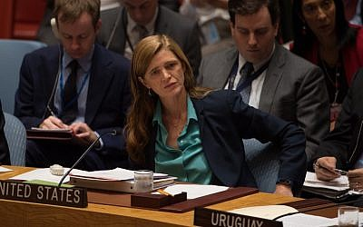 US Ambassador to the United Nations Samantha Power attends a UN Security Council emergency meeting on the situation in Syria, at UN Headquarters in New York, September 25, 2016. (AFP Photo/Bryan R. Smith)