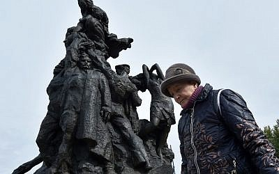 Raisa Maistrenko visits the Babi Yar monument in Kiev on September 23, 2016 a few days before Ukraine marks the 75th anniversary of the September 1941 mass executions of Jews by the Nazis during WWII. (AFP Photo/ Sergei Supinsky)