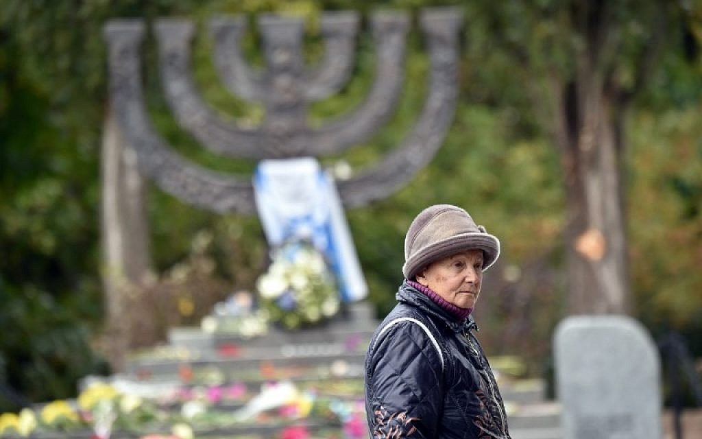 Raisa Maistrenko visits the Babi Yar monument in Kiev on September 23, 2016, a few days before Ukraine marks the 75th anniversary of the September 1941 mass executions of Jews by the Nazis during WWII. (AFP/Sergei Supinsky)