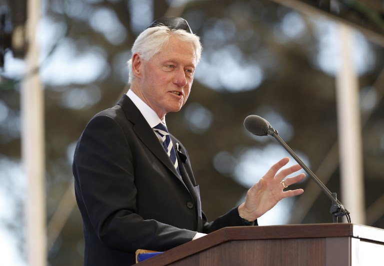 Former US president Bill Clinton delivers his eulogy during the funeral of former Israeli president Shimon Peres on September 30, 2016, at Jerusalem's Mount Herzl national cemetery.(AFP PHOTO / POOL / ABIR SULTAN)
