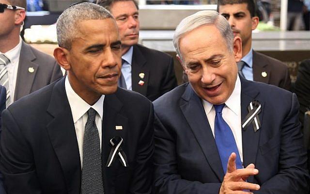 Prime Minister Benjamin Netanyahu (R) talks with US President Barack Obama at Jerusalem's Mount Herzl national cemetery during the funeral of former president Shimon Peres on September 30, 2016. (AFP/Pool/Menahem Kahana)