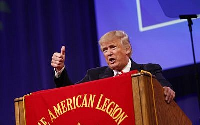 Republican presidential candidate Donald Trump speaks at the American Legion Convention in Cincinnati, Ohio, September 1, 2016. (Aaron P. Bernstein/Getty Images/AFP)