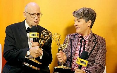 Winners Jeffrey Tambor and Jill Soloway attend IMDb 'Live after the Emmys,' in Los Angeles, California, on  September 18, 2016. (Rachel Murray/Getty Images/AFP)