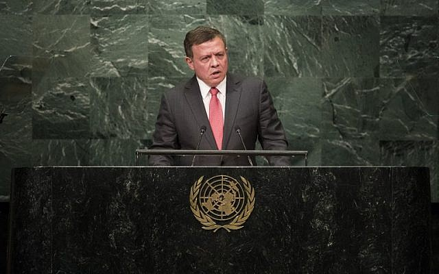 King of Jordan Abdullah II bin Al Hussein addresses the United Nations General Assembly at UN headquarters, September 20, 2016 in New York City. (Drew Angerer/Getty Images/AFP)