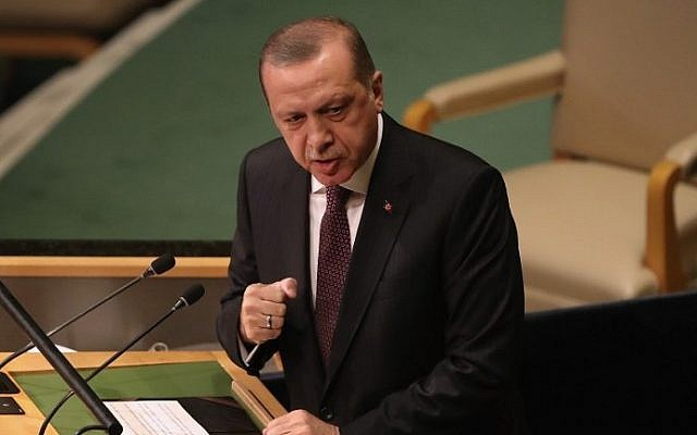 Turkish President Recep Tayyip Erdogan addresses the UN General Assembly in New York City, September 20, 2016. (Moore/Getty Images/AFP)