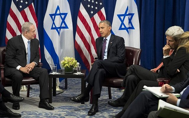 Benjamin Netanyahu, left, and US President Barack Obama meet at the Lotte New York Palace Hotel, September 21, 2016 in New York City. (Drew Angerer/Getty Images/AFP)