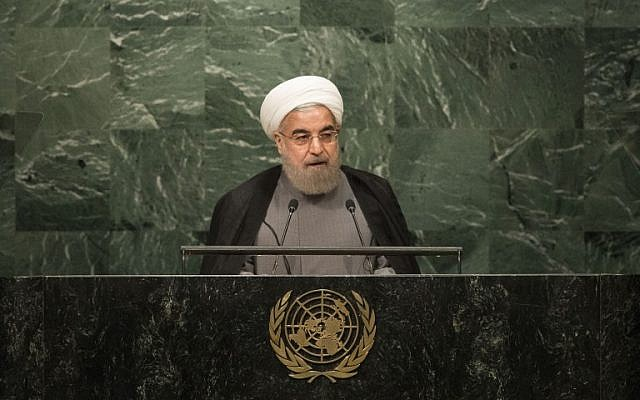 President of Iran Hassan Rouhani addresses the United Nations General Assembly at UN headquarters on September 22, 2016 in New York City. (Drew Angerer/Getty Images/AFP)