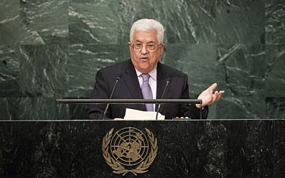 Palestinian Authority President Mahmoud Abbas addresses the United Nations General Assembly at UN headquarters, September 22, 2016 in New York City. (Drew Angerer/Getty Images/AFP)
