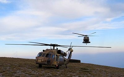 Israeli Air Force Blackhawk helicopters land on top of Mount Olympus during a 16-day exercise in Greece in September 2016. (Israeli Air Force)