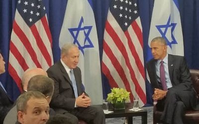 Prime Minister Benjamin Netanyahu, left, with US President Barack Obama before their meeting in New York, September 21, 2016. (Times of Israel/Raphael Ahren)