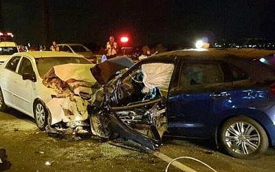 The scene of a head-on collision between two vehicles outside of Haifa on September 10, 2016. (Magen David Adom)