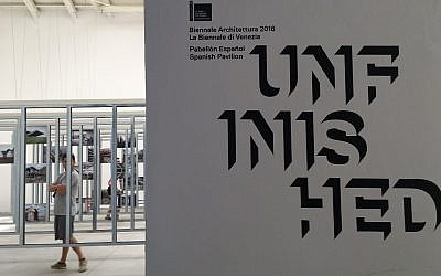 The Spain pavilion, with its exhibition entitled 'Unfinished.' (Rossella Tercatin/Times of Israel)