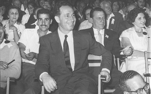 Shimon Peres at an Israeli Independence Day event on May 2, 1960. (Defense Ministry Archive)