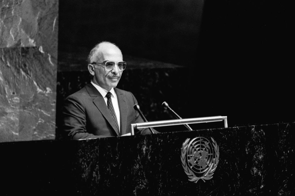 King Hussein of the Hashemite Kingdom of Jordan addressing the 12th Plenary Meeting of the General Assembly on September 27, 1985 at the United Nations in New York. (United Nations photo)