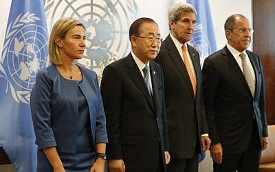 From left: EU High Representative Federica Mogherini, UN Secretary-General Ban Ki-moon, US Secretary of State John Kerry and Russian Foreign Minister Sergey Lavrov pose for photographers before a meeting of the Middle East Quartet at UN headquarters in New York on Sept. 23, 2016. (AP Photo/Mary Altaffer)