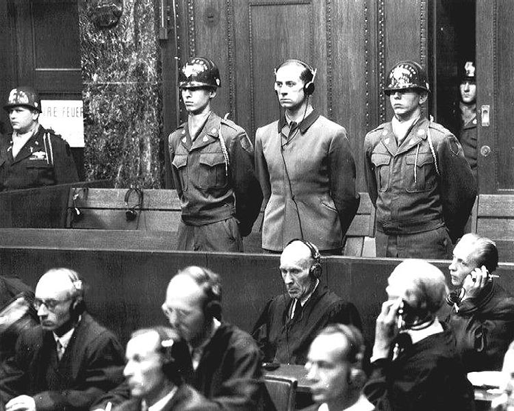 Physician Karl Brandt (center) was one of 23 German physicians tried at Nuremberg in 1946 for war crimes and crimes against humanity (Public domain)