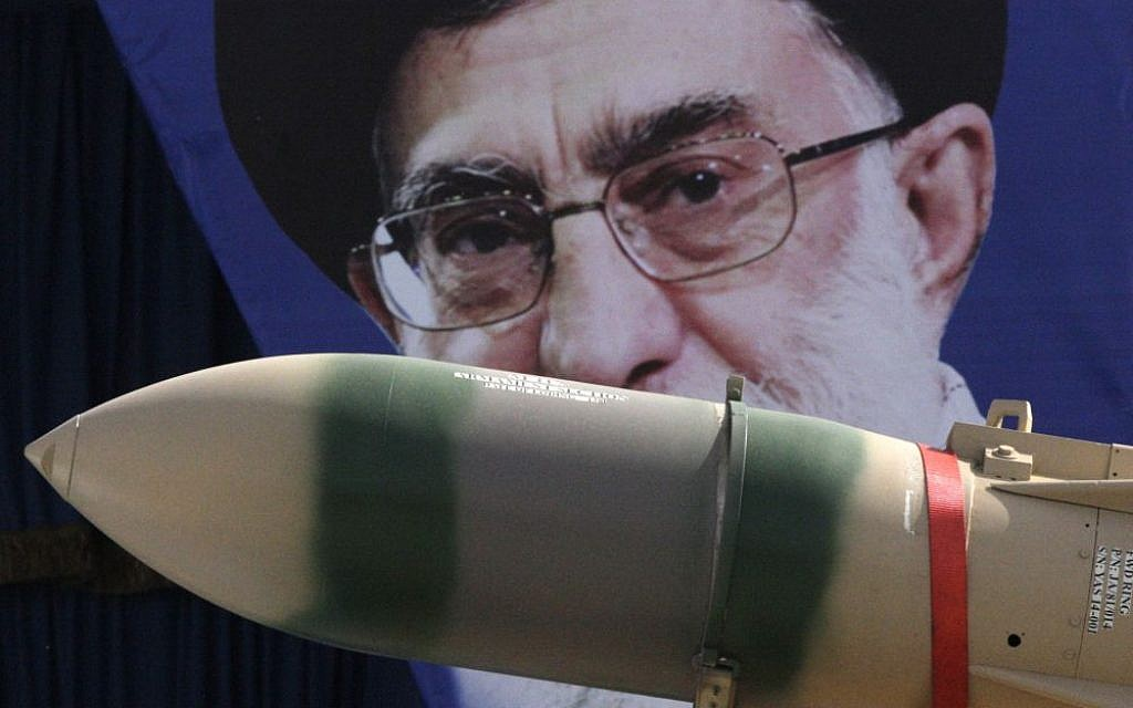 A Yaser missile is displayed by the Iranian army in front of a portrait of supreme leader Ayatollah Ali Khamenei during a parade marking National Army Day at the mausoleum of the late revolutionary founder Ayatollah Khomeini just outside Tehran, Iran, April 18, 2013. (AP/Vahid Salemi, File)