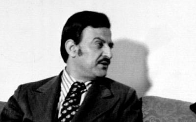 Mahmoud Abbas in Nicosia, Cyprus, March 31, 1975, during a meeting to discuss the opening of a Palestine Liberation Organization office on the island. (AP Photo)