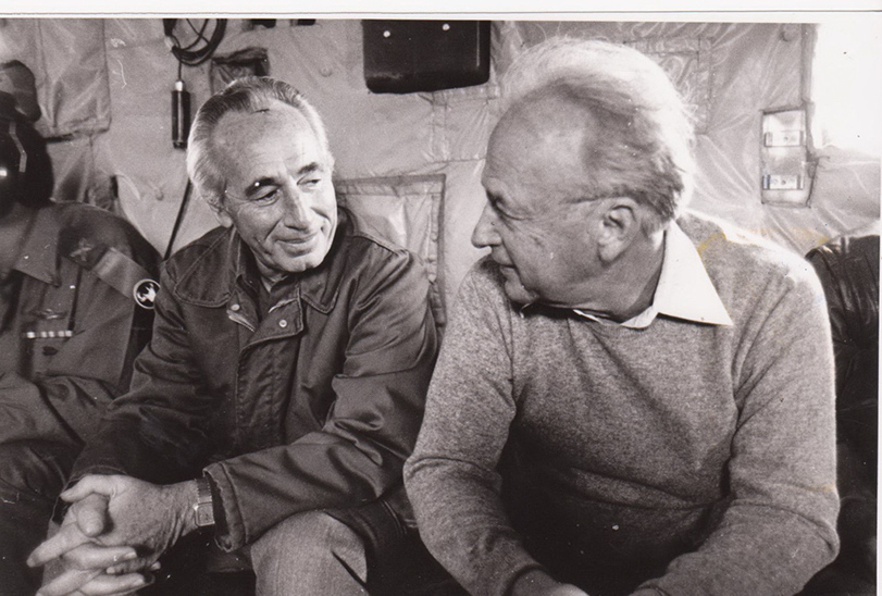 Then-defense minister Shimon Peres (left) with Yitzhak Rabin. (GPO)