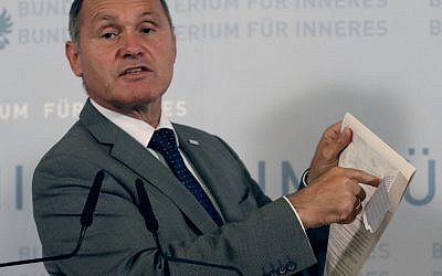 Austrian Interior Minister Wolfgang Sobotka attends a press conference in Vienna, Austria, Monday, Monday, Sept. 12, 2016. (AP Photo/Ronald Zak)