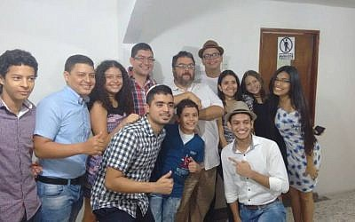 Members of the Barranquilla community with Rabbi Juan Mejia. (Courtesy)