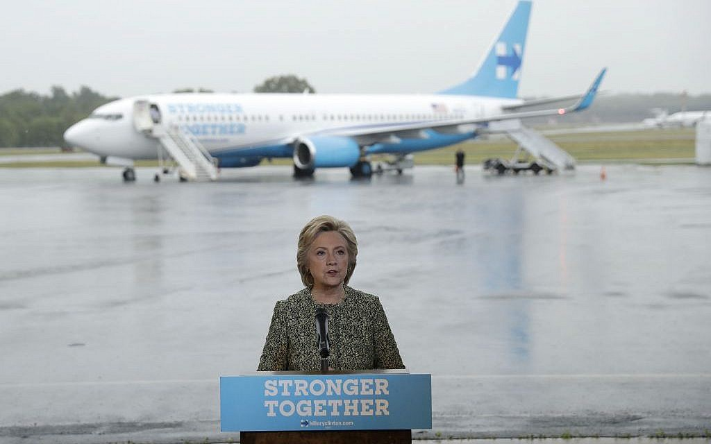 Democratic presidential candidate Hillary Clinton speaks with members of the media at Westchester County Airport in White Plains, N.Y., Monday, Sept. 19, 2016 (AP Photo/Matt Rourke)