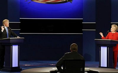 Republican presidential nominee Donald Trump and Democratic presidential nominee Hillary Clinton spar during the presidential debate at Hofstra University in Hempstead, New York, Monday, Sept. 26, 2016. (AP Photo/David Goldman)