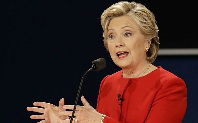 Democratic presidential nominee Hillary Clinton answers a question during the presidential debate with Republican presidential nominee Donald Trump at Hofstra University in Hempstead, New York, Monday, Sept. 26, 2016. (AP Photo/David Goldman)