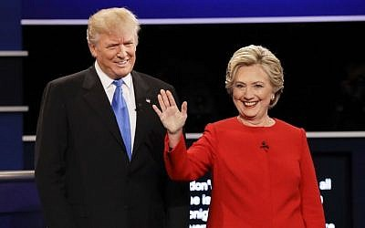 Republican presidential nominee Donald Trump and Democratic presidential nominee Hillary Clinton are introduced during the presidential debate at Hofstra University in Hempstead, NY, Monday, Sept. 26, 2016. (AP/David Goldman)