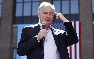 Democratic vice presidential candidate, Senator Tim Kaine, D-Va. speaks during a campaign rally at the University of Michigan in Ann Arbor, Michigan on September 13, 2016. (AP Photo/Paul Sancya)
